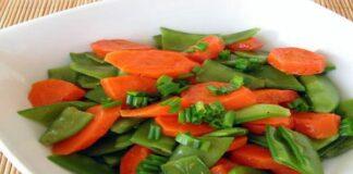 Poêlée de pois mange-tout et carotte