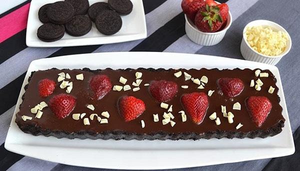 Tarte au chocolat et fraise