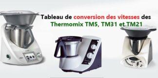 Tableau de conversion des vitesses des Thermomix TM5, TM31 et TM21
