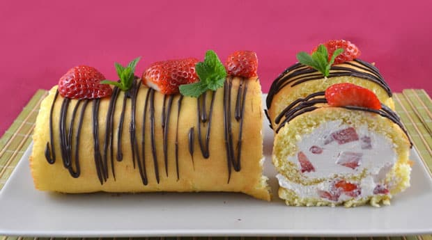 Gâteau roulé aux fraises avec Thermomix