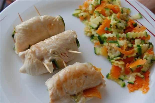 rouleaux de poulet aux légumes