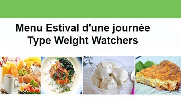 Menu estival d'une journée Type Weight Watchers