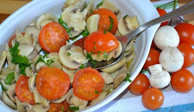 salade de champignons et tomates cerises au Thermomix