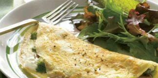 Omelette aux champignons, au brocoli et au feta