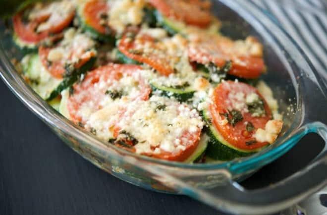Gratin de courgettes et tomates léger
