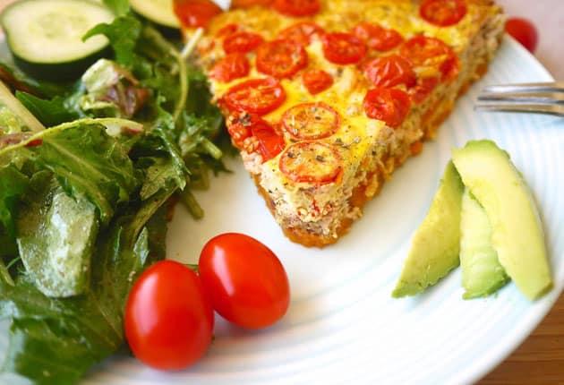 Quiche au thon et au tomates cerises légère