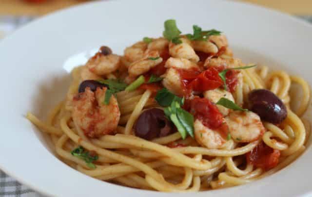 Spaghettis aux crevettes et tomates cerises WW