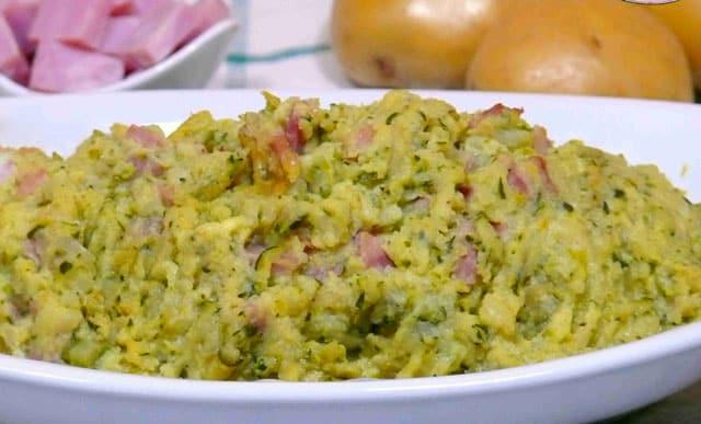 purée de pomme de terre de courgettes et jambon WW