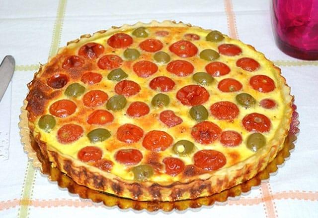 quiche aux tomates cerises et olives vertes WW