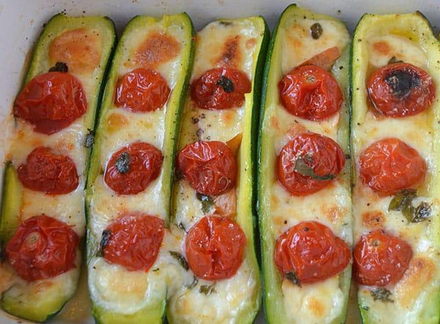 courgettes farcies aux tomates cerises WW
