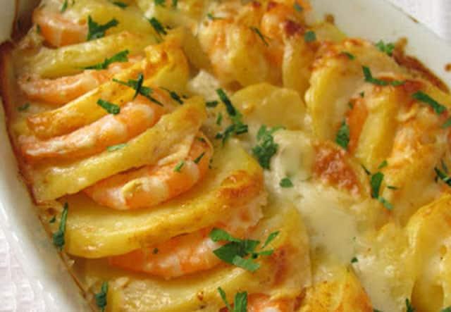 gratin de crevettes et pommes de terre WW
