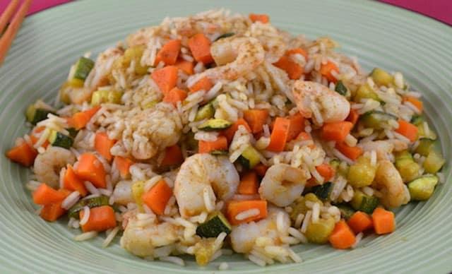 Riz Sauté aux Crevettes et Légumes WW