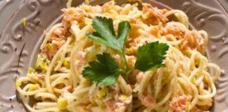 Spaghettis au saumon et poireaux WW