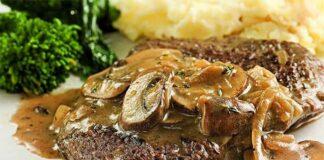Steak de boeuf aux champignons de paris