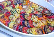 Tian de courgettes et aubergines au chèvre