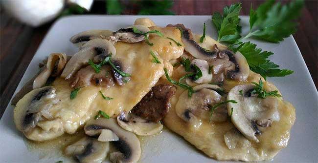 Escalopes poulet champignons