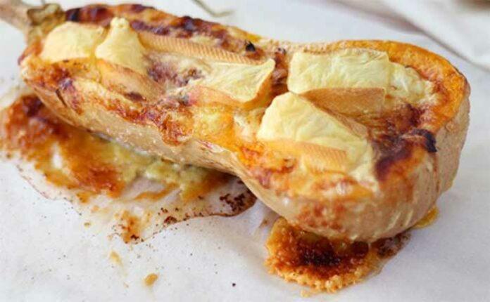 Butternut farcie lardons camembert