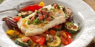 Recette ww du cabillaud et légumes cuits au four