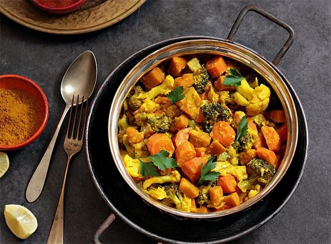 Curry de poulet au chou-fleur et potiron