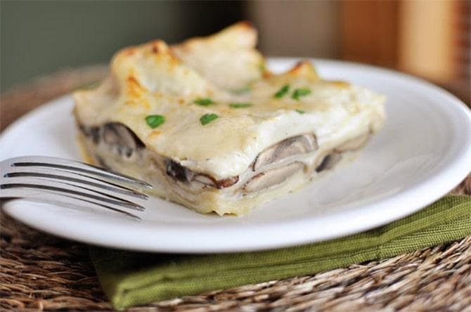 Lasagnes au chou-fleur champignons et jambon