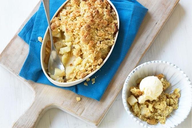 Crumble aux pommes et fromage