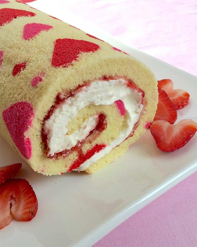 Gâteau roulé de la saint valentin