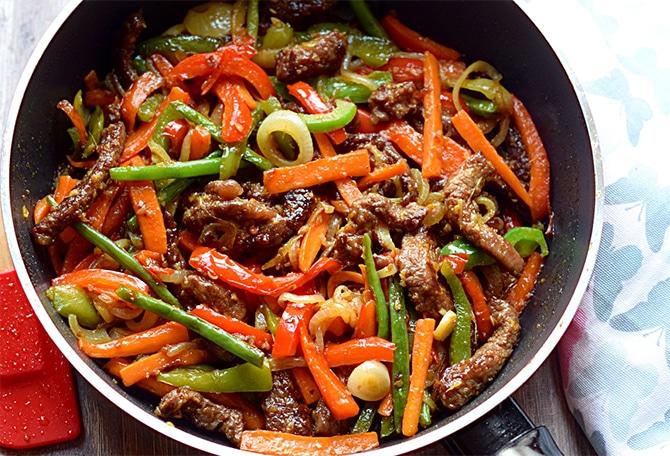Wok de boeuf aux légumes