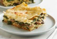 Lasagnes aux épinards et champignons
