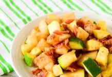Poêlée de pomme de terre courgette et lardons