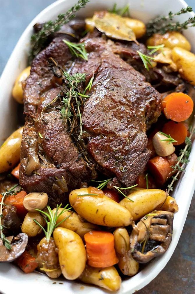 Rôti de boeuf aux pommes de terre et champignons - Recette WW