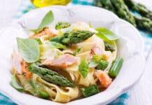 Tagliatelles au saumon et asperges