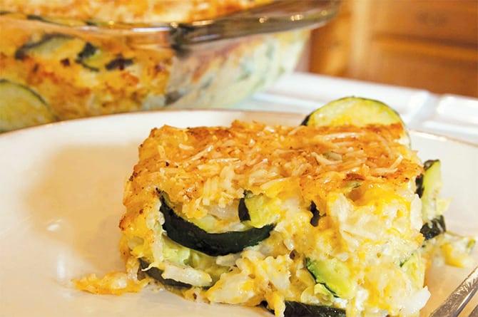 Gratin de riz courgettes et viande hachée