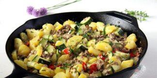 Poêlée de courgettes et pommes de terre à la viande hachée