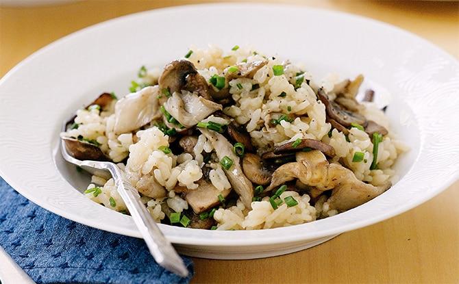 Risotto crémeux au poulet et champignons