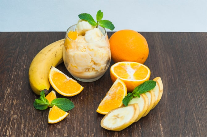 Sorbet à la banane et orange
