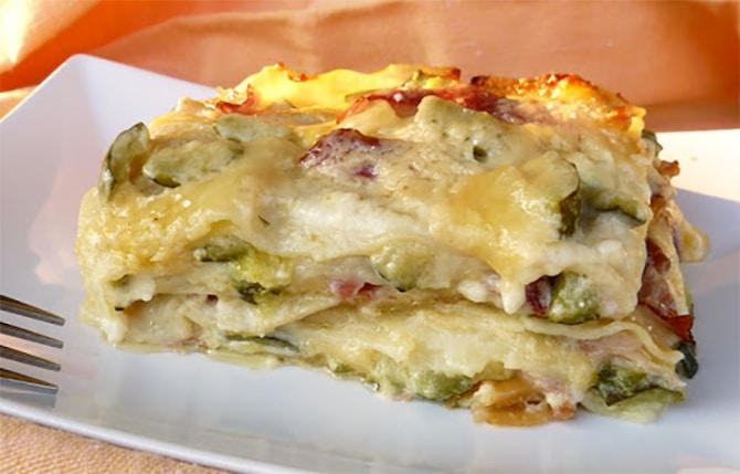 Lasagnes aux courgettes et jambon