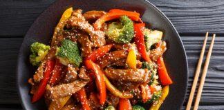 Wok express de légumes et de boeuf
