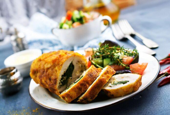 Roulés de poulet aux épinards et fromage