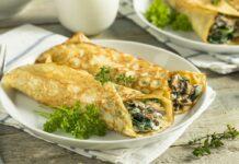 crêpes aux champignons, épinards et fromage