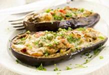 aubergines farcies au poulet et fromage