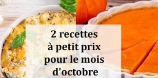 2 recettes à petit prix pour le mois d'octobre