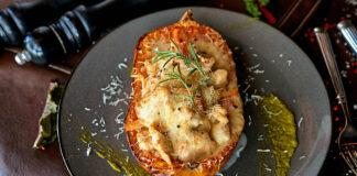 Courge butternut farcie aux lardons et champignons